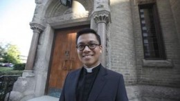 Fr. Angeles in front of St.Mary's Cathedral in downtown Winnipeg. Winnipeg Free Press Photo